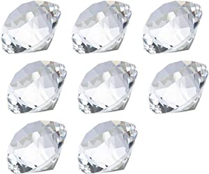LONGWIN 30mm(1.2 inch) Crystal Diamond Themed Dinner Party Table Decoration Party Favors Gift for Kids Pack of 8 (Clear)