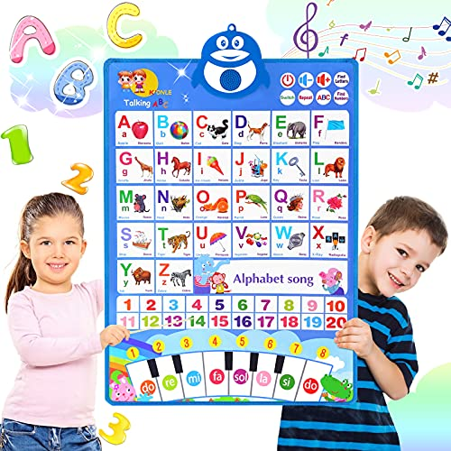 ABC Learning for Toddlers  Electronic Alphabet Poster ABC+123+Music+Piano Keyboard  Interactive Alphabet Wall Chart  Preschool Educational Toys for 2 3 4 5 Year Olds