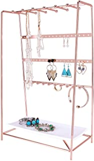 SIMMER STONE Rose Gold Jewelry Stand, 4 Tier Jewelry Organizer Holder, Decorative Jewelry Storage Hanger Display with Tray...