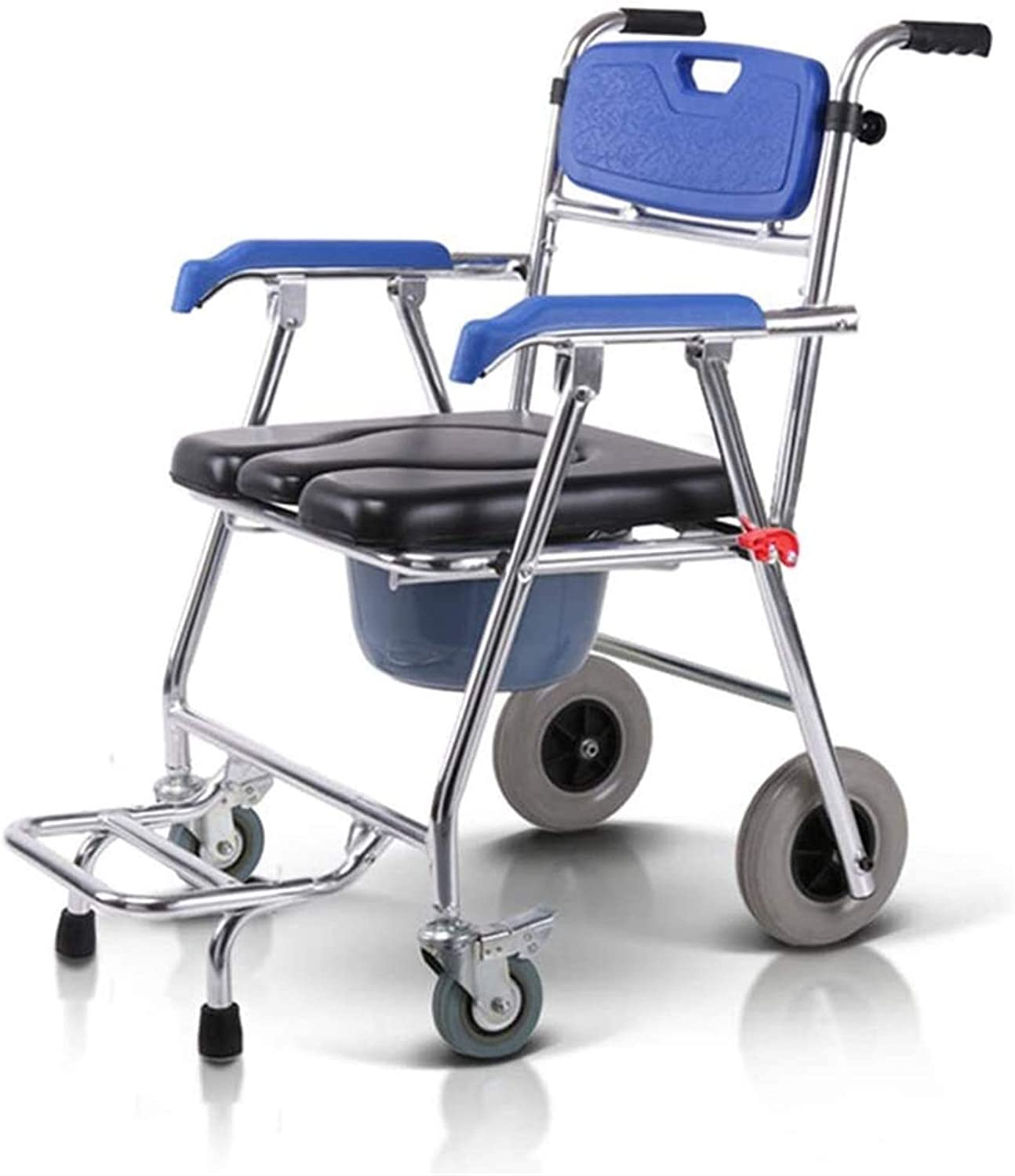 HMMN Folding Commode Chair with shop security Wheels Portable Upholst Aluminum