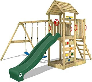 WICKEY Parque infantil de madera MultiFlyer con columpio y tobogán verde, Torre de escalada da exterior con arenero y escalera para niños