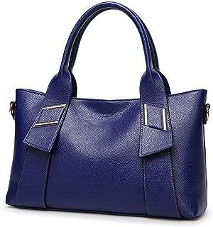 Fashion Women's European & American Fashion Solid Color Lychee Soft Leather Zipper Shoulder Bag Messenger Bag Handbag Crossbody Bag (Color : Blue)
