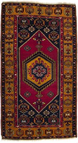 CarpetFine: Belutsch Teppich 117x213 Braun,Rot,Schwarz - Handgeknüpft - Geometrisch