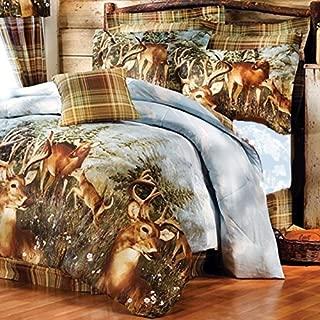 8pc Whitetail Deer Trophy Buck Comforter, Sheets, Pillow Shams & Bedskirt Set (Bed in a Bag) (8pc Queen Size)