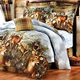 Lodge Home 8pc Whitetail Deer Trophy Buck Comforter, Sheets, King Pillow Shams & Bedskirt Set (Bed in a Bag) (8pc King Size)