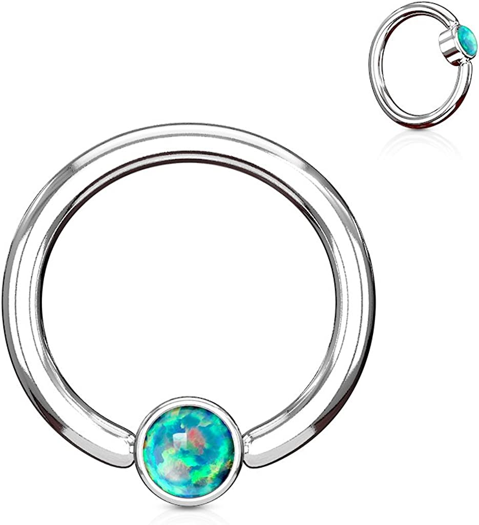 Inspiration Dezigns Synthetic Opal Flat Cylinder Captive Hoop Ring
