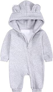 ملابس للبنات الأولاد طفل رومبير لطيف مقنع سترة القفز الرضع الدافئة وتتسابق الشتاء للأطفال (Color : Gray, Size : 6-9 Months)