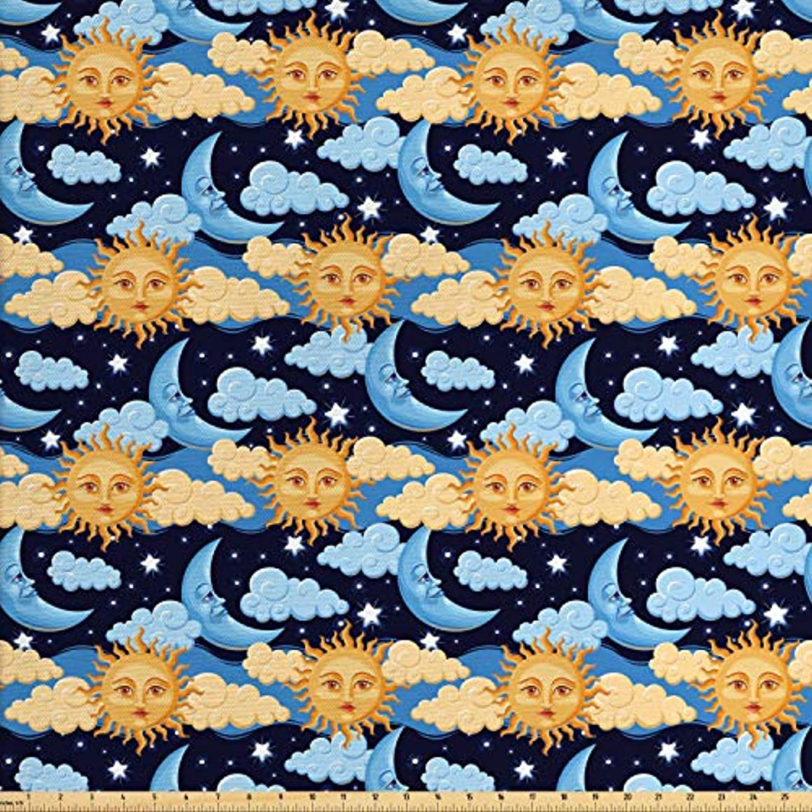 Lunarable Sun and Moon Fabric by The Yard, Colorful Night Sky Filled with Stars and Clouds with Mythical Celestial Bodies, Decorative Fabric for Upholstery and Home Accents, 1 Yard, Multicolor
