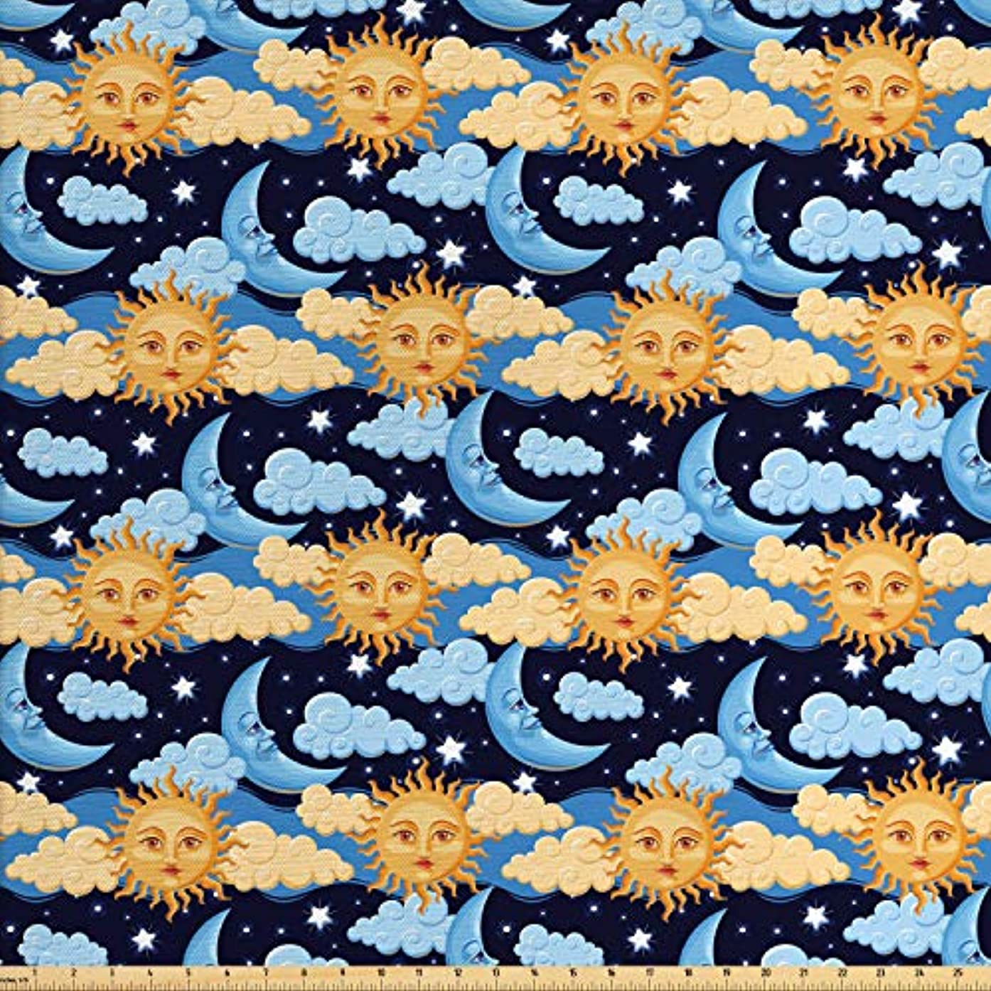 Lunarable Sun and Moon Fabric by The Yard, Colorful Night Sky Filled with Stars and Clouds with Mythical Celestial Bodies, Decorative Fabric for Upholstery and Home Accents, 2 Yards, Multicolor