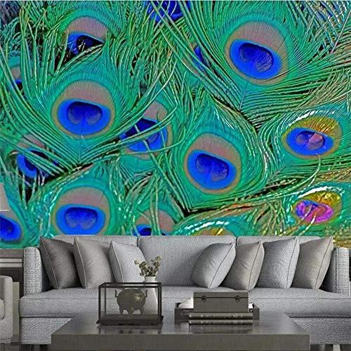 3D Wandbild Tapete Benutzerdefinierte Tapete Schöne Kunst Bunte Pfauenfeder TV Hintergrund Wandbild Benutzerdefinierte Große Grüne Tapete-280X200cm