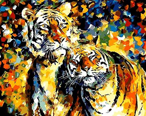 Lege doe-het-zelf schilderen op cijfers voor volwassenen, tijgers, dierbeschilderingen op nummers, set op canvas voor beginners, nieuwe schilders, 40 x 50 cm, zonder lijst