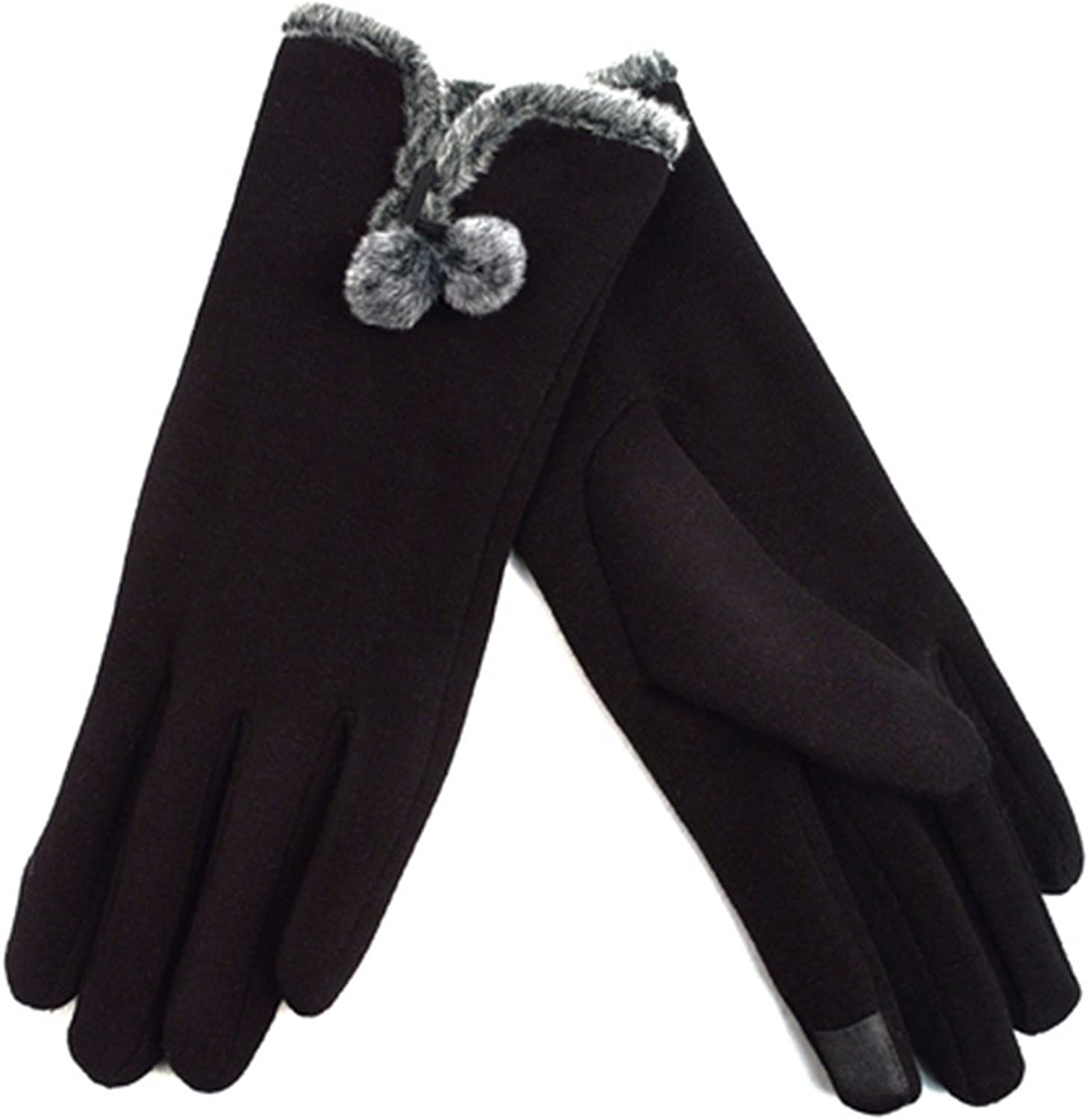 Women's Black Stylish Touch Screen Gloves with Fur Trim & Fleece Lining - S/M