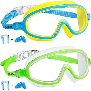 Swim Goggles 2 Pack Anti-Fog Anti-UV Wide View Swimming Goggles for Kids 3-15