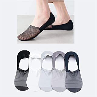 Men's Invisible Ice Silk Boat Socks Summer Breathable Socks, No Show Socks Silicone Non Slip Flat Boat Line Low Cut Socks,...