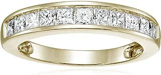 1 CT IGI Certified Princess Diamond Wedding Band in 14K White Gold