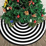 AHOOCUSTOM Small Black and White Christmas Tree Skirt 30 in Annual Rings, Rustic Decorations Farmhouse for Merry Xmas Holiday Party Supplies Slim Tree Mat Wedding Decor Ornaments for Mini Table Top