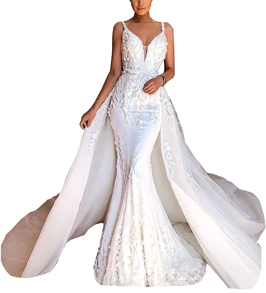 Bridal Ball Gown with Detachable Train Lace Corset Spaghetti Strap Mermaid Wedding Dresses for Bride