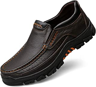 COSIDRAM Mens Casual Loafer Shoes Comfortable Soft Genuine Cow Leather Waterproof Slip on Sneakers Shoes Business Walking Driving Outdoor Dress for Male Brown 10.5