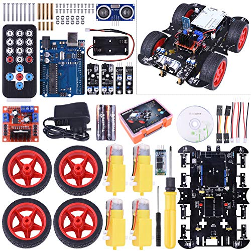 kuman Neu Smart Roboter Kompatibel mit ArduinoIDE Car Kit mit R3 Board, Line Tracking Modul, Ultraschallsensor, APP Steuerung via Smartphone usw, Auto Robot Spielzeug für Erwachsene und Kinder SM11