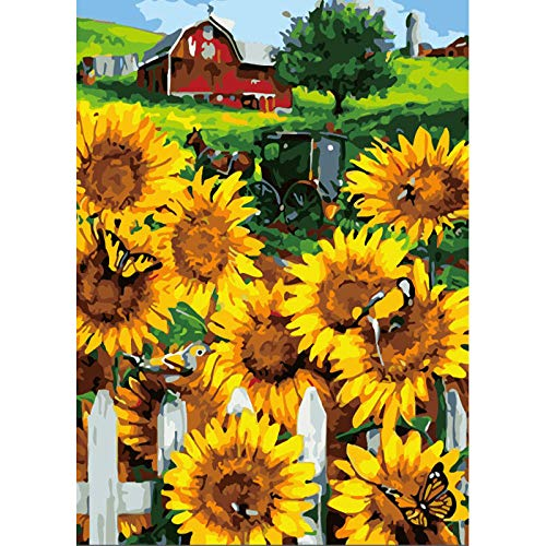 BUFUBUXING Pintar por Numeros - Girasol De Granja Adultos Niños DIY Pintura por Números con Pinceles Y Pinturas-40 * 50 Cm, Sin Marco