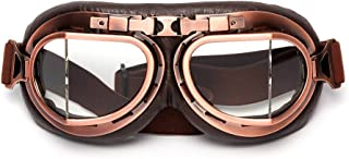 LEAGUE&CO Windproof Clear Lens Motorcycle Vintage Goggles For Harley Racer Cruiser Scooter Biker Aviator Pilot, Skiing glasses, Half or Open Helmet Goggle (Clear)