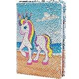Unicornio Lentejuelas Cuaderno Reversibl Diario de Lentejuelas , Diario de Viaje Bloc de Notas Para Cuaderno Mágico Unicornio Lentejuelas Cuaderno para Oficina Escuela