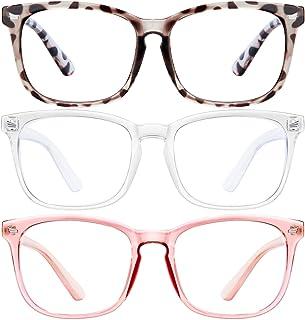 Blue Light Blocking Glasses-3Pack Computer Game Glasses Square Eyeglasses Frame, Blue Light Blocker Glasses for Women Men...