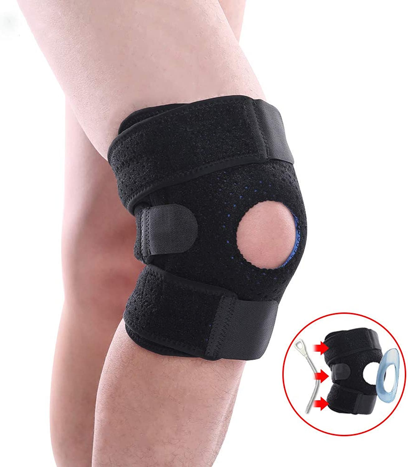 Knee Brace Support with Adjustable Veclro  Best for Meniscus Tear, Arthritis, ACL, MCL, Sports, Running, Basketball for Men & Women