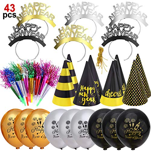 HOWAF Silvester deko 2020 Neujahr Silvester Dekoration Set, 43pcs Frohes Neues Jahr Party Stirnband Hörner Hüte Photo Booth Blowouts und Luftballons für Kinder Erwachsene Neujahr Party mitgebsel