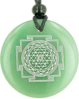 Sri Yantra Chakra Talisman Green Quartz Magic Pendant Necklace