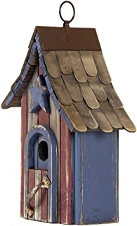 """Glitzhome USA Patriotic Hand Painted Wood Birdhouse Single Roof, 10.04"""""""