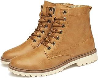 e40b1069dc GanSouy Botines para Trabajo De Hombre con Cordones Retro Tops Altas Motos  Zapatos Punta Redonda Exterior