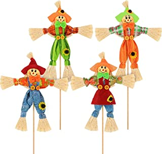 Samantha 4 Pièces Épouvantail de Récolte Halloween Décoration, Petites Décorations d'Épouvantail, avec Bâton de Bambou, Dé...