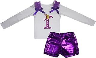 Petitebella Girls' Mardi Gras 1St White L/S Shirt Bling Short Set