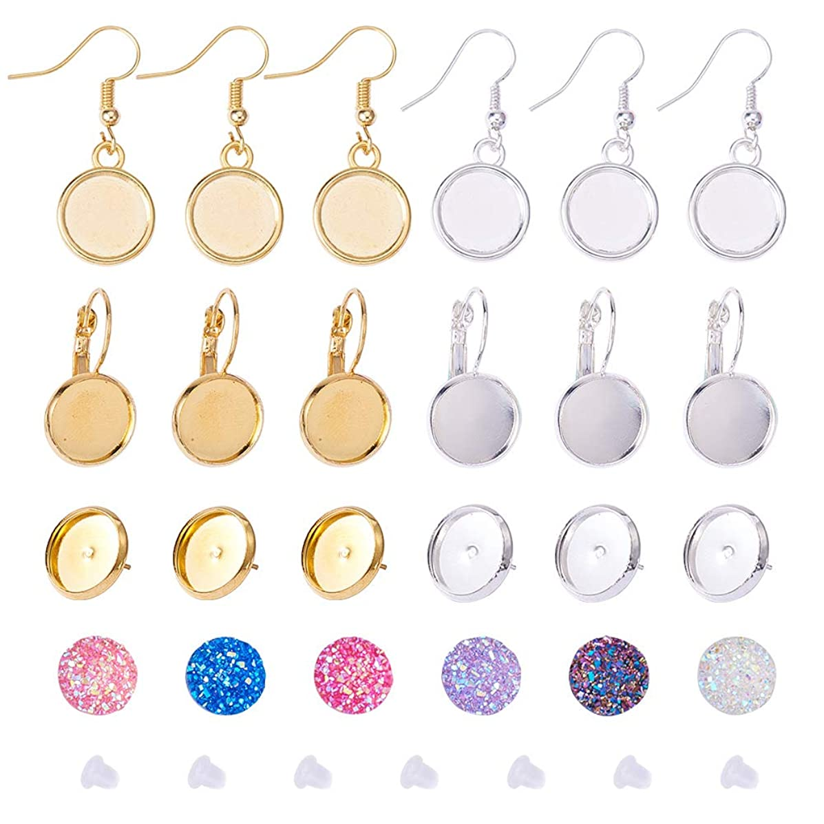 PH PandaHall 8pcs Brass Earring Wire Hooks with Blank Pendant Trays, 8pcs Lever Back Hoop, 8pcs Ear Stud, with 36pcs 12mm Imitation Druzy Agate Resin Cabochons & 20pcs Earnuts