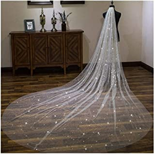 ZYFZD Sparkly Long Shiny 2020 Wedding Veil With Metal Comb Cathedral 3 Meters White Ivory Bridal Head Veil Wedding Bride Accessories (Color : Ivory, Item Length : 500cm)