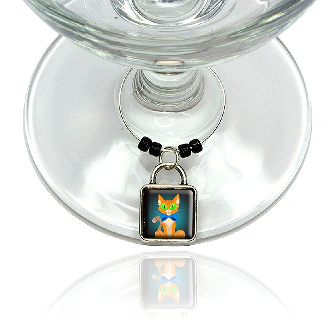 Orange Cat in Bowtie Wine Glass Drink Marker Charm Ring