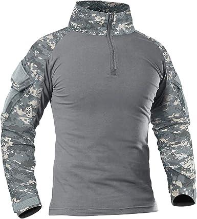 KEFITEVD Camisa táctica para Hombre Camisa Slim Fit de Manga Larga Camisa de Combate Airsoft Camisa de Camuflaje Flecktarn Paintball al Aire Libre