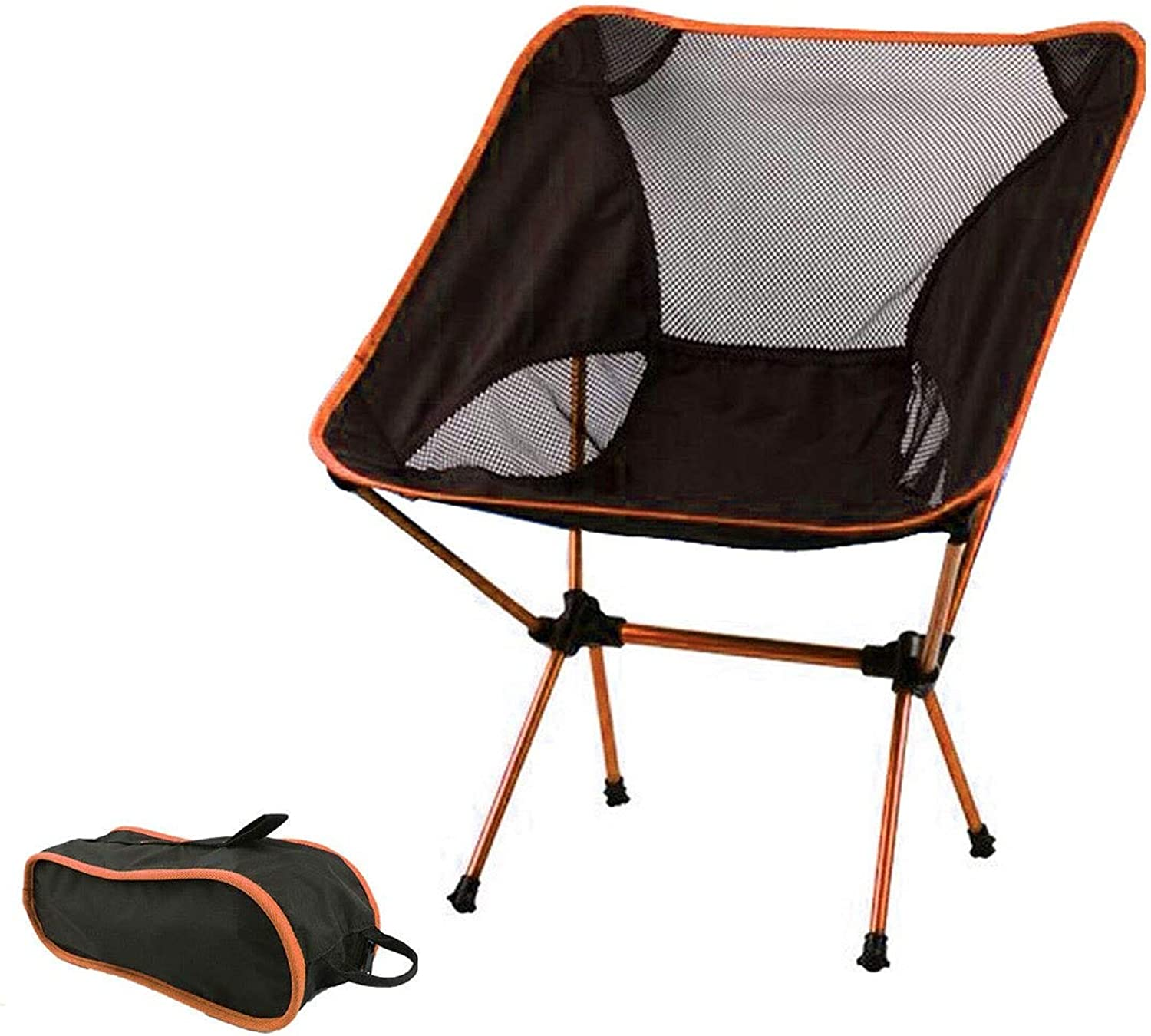 Ultralight Folding Portable Camping Chair Compact Backpacking Beach Lounge Heavy Duty Outdoor Camp Chairs Lightweight Travel Picnic Hiking Fishing BBQ Bag