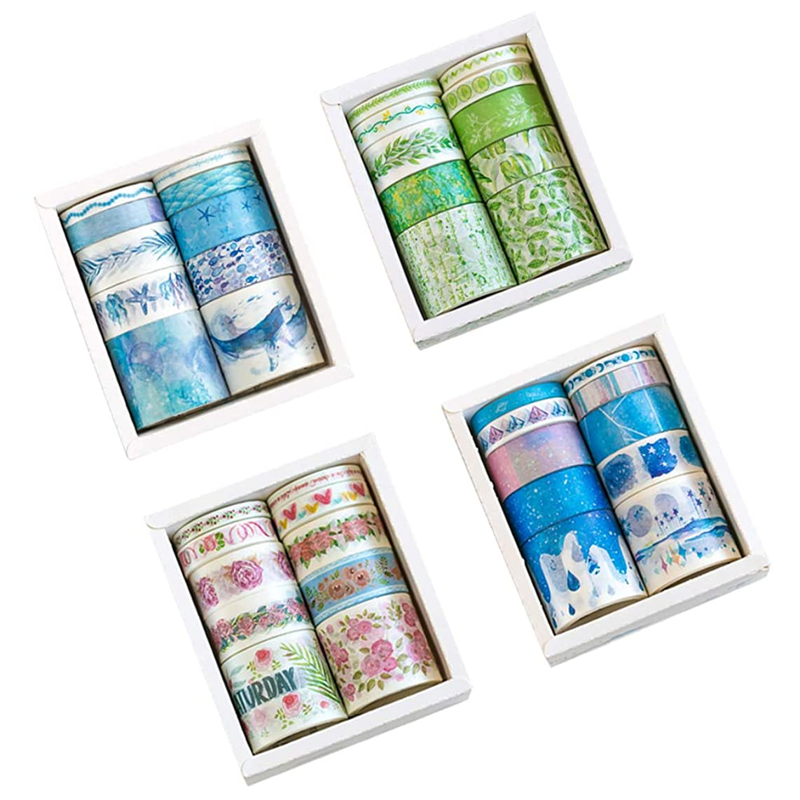 Masking Washi Tape Set (4 Box, Assorted 40 Rolls) Whale Jellyfish Starfish Water Grass Moon Phase Starlight Planet for Scrapbooking Journal Planner Album Diary Book DIY Decorative Label Sticker (B)