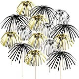 100 Pieces Firework Cupcake Toppers Firework Food Picks Foil Frill Cake Decorations Christmas Xmas Toothpicks 9 Inch Coconut Tree Shape for Holiday Party Favors Supplies