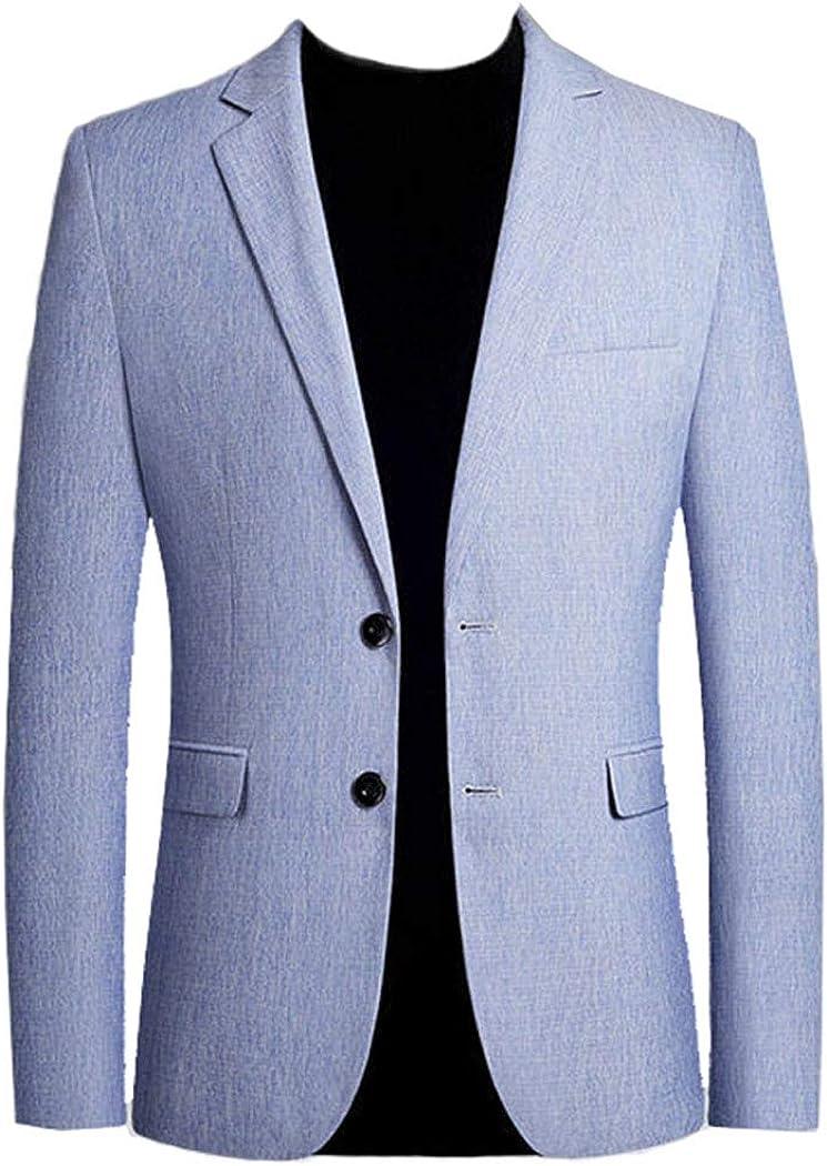 Men's Spring Blazer Light Great interest Blue Two Ranking TOP7 Buttons Regulat Notched Lapel