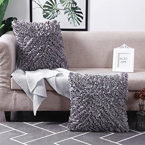 MoMA Decorative Throw Pillow Covers (Set of 2) - Pillow Cover Sham Cover - Dark Grey Throw Pillow cover - Decorative Sofa Throw Pillow Cover - Square Decorative Pillowcase - Grey - 18' x 18'