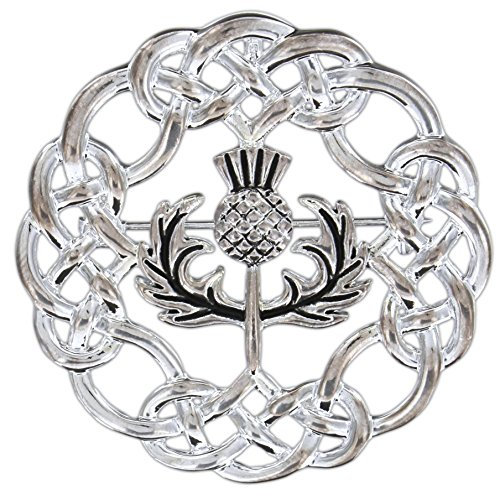 Quantum Silver-Plated Pewter Pin/Pendant (Celtic Knotwork Thistle)