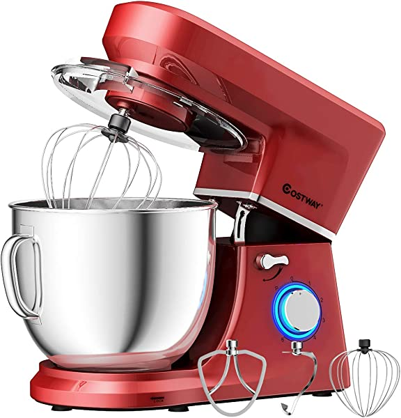 COSTWAY Stand Mixer 660W Tilt Head Electric Kitchen Food Mixer With 6 Speed Control 7 5 Quart Stainless Steel Bowl Dough Hook Beater Whisk Red Update