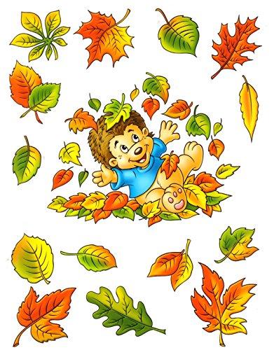 dpr. Fensterbild Set 5-TLG. Igel und Herbstblätter Fenstersticker Fensterdekoration Herbstdekoration