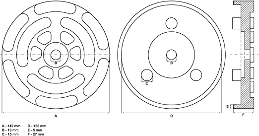 BGS 7047 7047-Plato Plataformas Elevadoras di/ámetro /Ø 140 mm H/öhe 25 mm Revestimiento de Goma