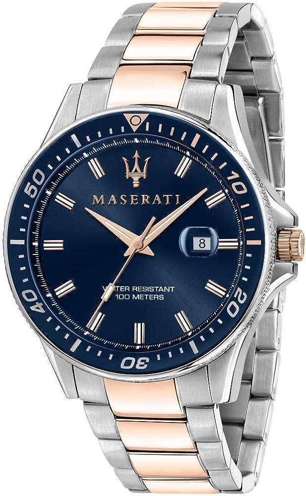 Maserati orologio da uomo, collezione sfida, in acciaio, pvd oro rosa 8033288894728