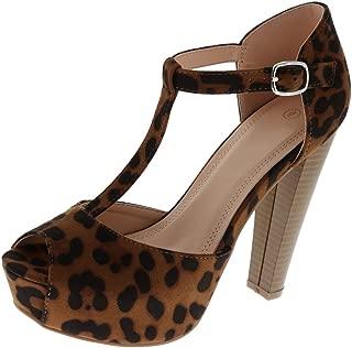 Women's Peep Toe T-Strap Platform High Heel Sandal