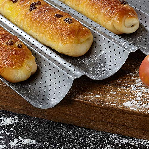 """Amagabeli Nonstick Perforated Baguette Pan 15"""" x 13"""" for French Bread Baking 4 Wave Loaves Loaf Bake Mold Toast Cooking Bakers Molding 4 Gutter Oven Toaster Pan Cloche Waves Silver Steel Tray Italian"""